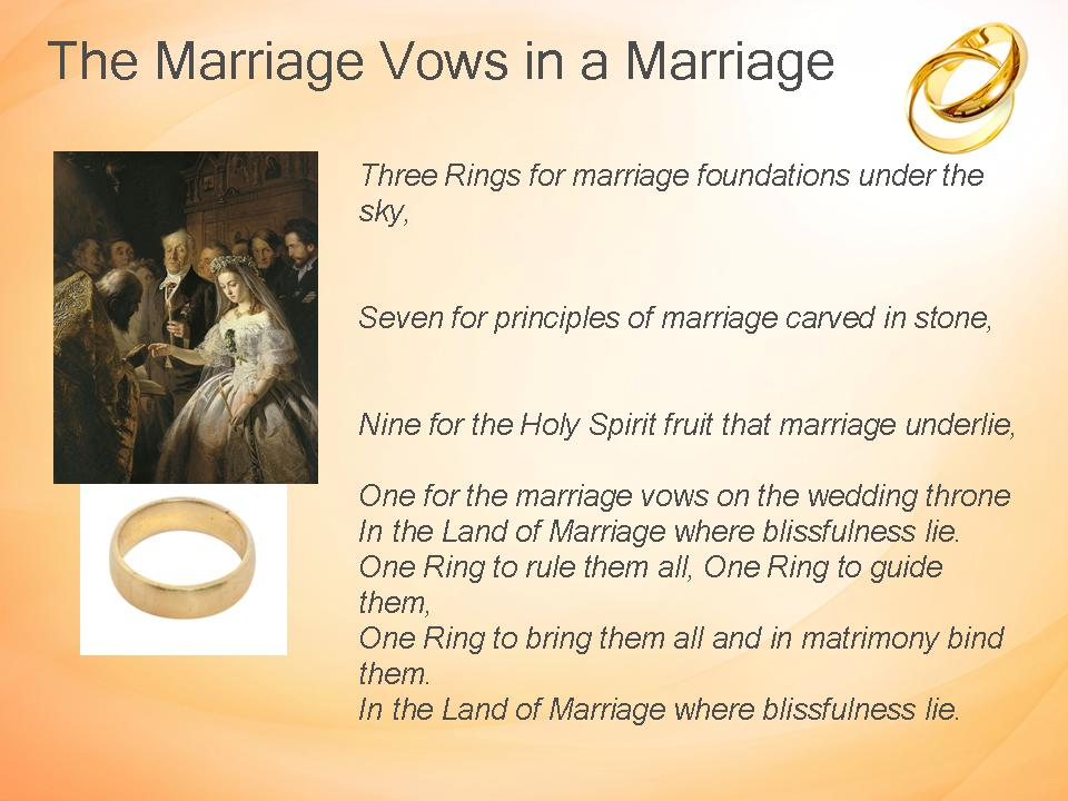 marriage vows Marriage vows definition: the official promises made by two people who are being married | meaning, pronunciation, translations and examples.